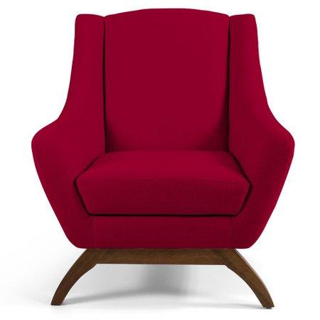 Poltrona Decorativa Fixa Base de Madeira Juliet D02 Veludo Vermelho B-173 - Lyam Decor