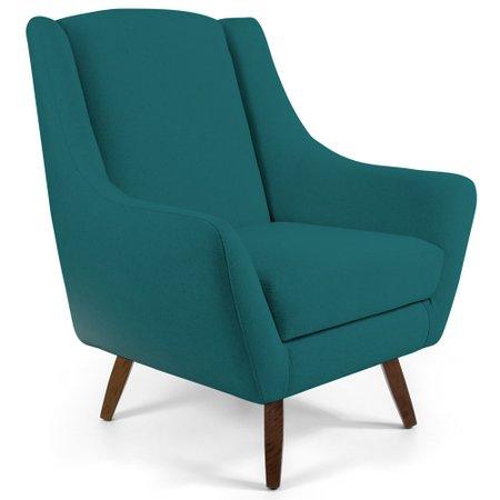 Poltrona Decorativa Fixa Pés de Madeira Juliet D02 Veludo Azul Turquesa B-66 - Lyam Decor