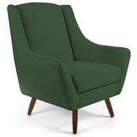 Poltrona Decorativa Fixa Pés de Madeira Juliet D02 Linho Verde B-232 - Lyam Decor