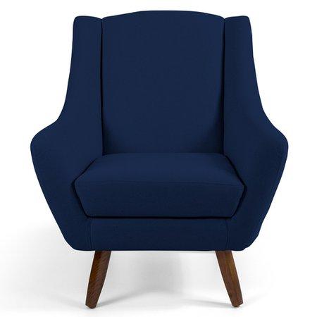 Poltrona Decorativa Fixa Pés de Madeira Juliet D02 Veludo Azul Oxford B-304 - Lyam Decor