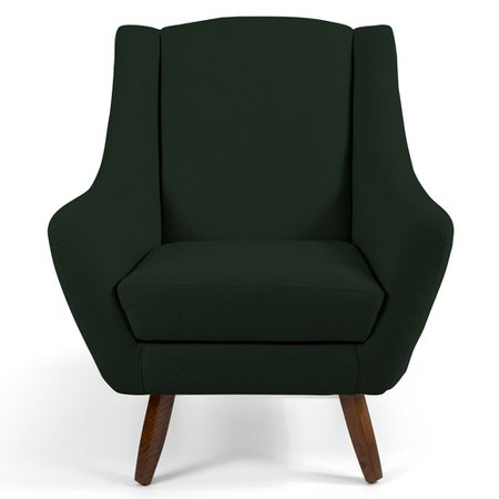 Poltrona Decorativa Fixa Pés de Madeira Juliet D02 Veludo Verde B-303 - Lyam Decor