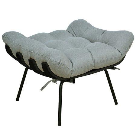 Poltrona Costela Preto L02 com Puff Sala de Estar Linho Cinza Escuro - Lyam Decor
