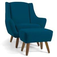 Poltrona Decorativa Fixa com Puff Pés de Madeira Juliet D02 Veludo Azul B-170 - Lyam Decor