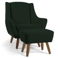 Poltrona Decorativa Fixa com Puff Pés de Madeira Juliet D02 Veludo Verde B-303 - Lyam Decor