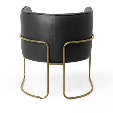 Poltrona Decorativa Fixa Base de Aço Bronze Betina D02 Corano Preto Fosco B-97 - Lyam Decor