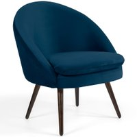 Poltrona Decorativa Fixa Pés Palito Rafa D02 Veludo Azul Oxford B-304 - Lyam Decor