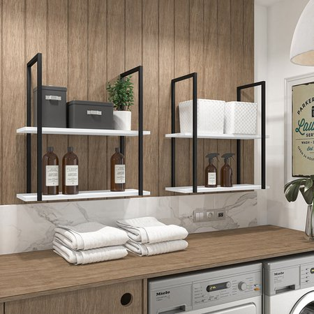 Kit 02 Prateleiras Decorativas Multiuso Industrial D01 Design Branco Fosco - Lyam Decor