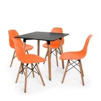 Kit Mesa Jantar Eiffel 80x80cm Preta + 04 Cadeiras Charles Eames - Laranja