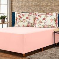 Jogo de Lençol p/ Cama Box Complet Floral Rosê Queen 03 Peças - Percal 140 Fios
