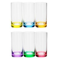 Conjunto 6 Copos de Cristal 380 ml Long Drink Set-Bar Favorit - Bohemia - Colorido