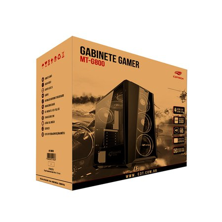 Gabinete Gamer C3tech MT-G800BK, USB 3.0 S/ Fonte, RGB