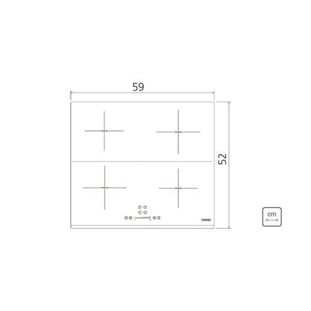 Cooktop por Indução Tramontina Square Slider B 4EI 60 Vitrocerâmico com Comando Touch 220 V