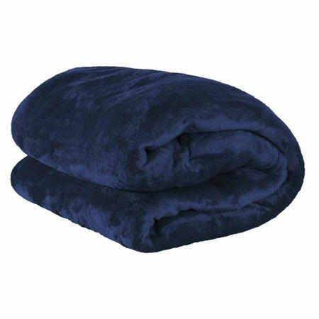 Cobertor Casal Manta Microfibra Fleece 01 Peça - Azul Marinho