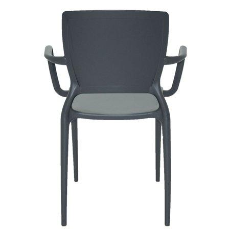 Cadeira Tramontina Sofia Grafite com Braços Encosto Fechado em Polipropileno e Fibra de Vidro Tramontina