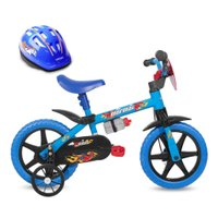 Bicicleta Aro 12 Infantil Kids Azul Mormaii Com Capacete