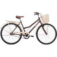 Bicicleta Retrô Vintage Aro 26 V-Brake Panda Marrom E Bege