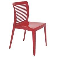 Cadeira Tramontina Victória Vermelha sem Braços com Encosto Vazado em Polipropileno