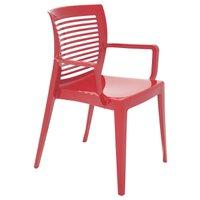 Cadeira Tramontina Victória Vermelha com Braços Encosto Vazado Horizontal em Polipropileno