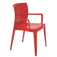 Cadeira Tramontina Victória Vermelha com Braços Encosto Fechado em Polipropileno Tramontina