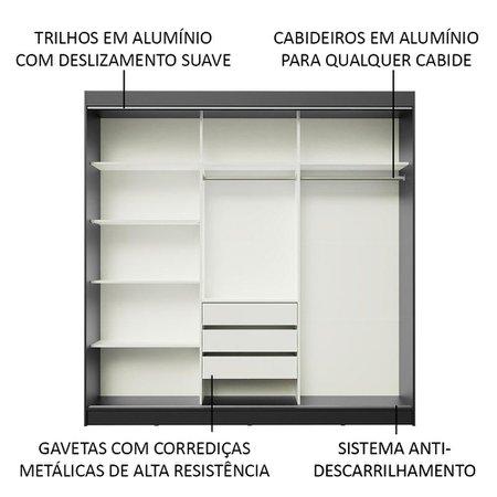 Guarda-Roupa Casal Madesa Austin 4 Portas de Correr 3 Gavetas - Preto