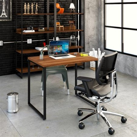Mesa Para Escritório 90X75X60Cm Estilo Industrial Kuadra Me90 Nogal