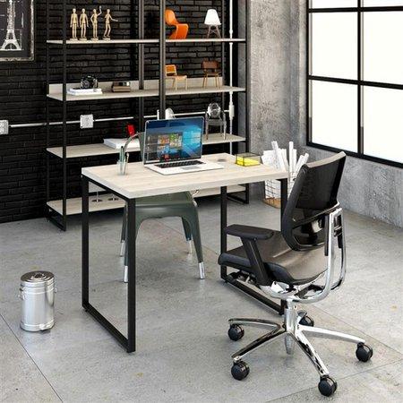 Mesa Para Escritório 90X75X60Cm Estilo Industrial Kuadra Me90 Snow