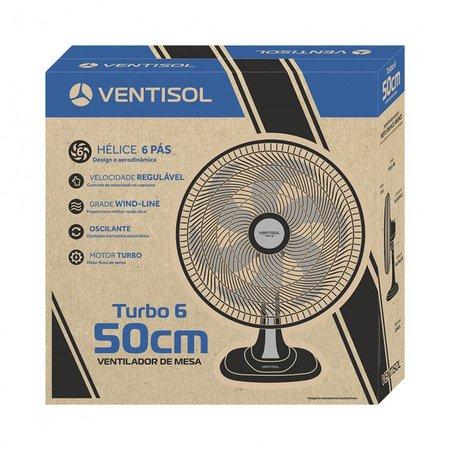 Ventilador de Mesa Turbo 50 cm Preto com 6 Pás Oscilante Ventisol 110V