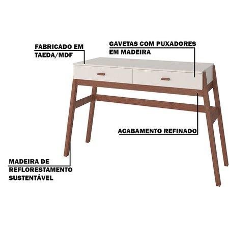 Aparador Decorativo Sala de Estar 2 Gavetas Yara Amêndoa/Off White - Gran Belo