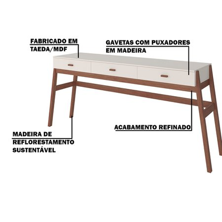 Aparador Decorativo Sala de Estar 3 Gavetas Yara Amêndoa/Off White - Gran Belo