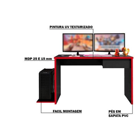 Mesa Decorativa Gamer PlayerXTreme SLIN Preto Texturizado/Vermelho - Gran Belo