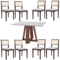 Conjunto Mesa Shell com Tampo de Vidro 150x150 cm e 8 Cadeiras Nivea Amêndoa - Gran Belo
