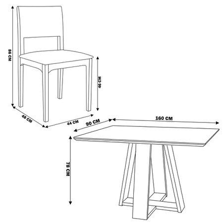 Conjunto Mesa Shell com Tampo de Vidro 160x90 cm e 6 Cadeiras Nivea Amêndoa - Gran Belo