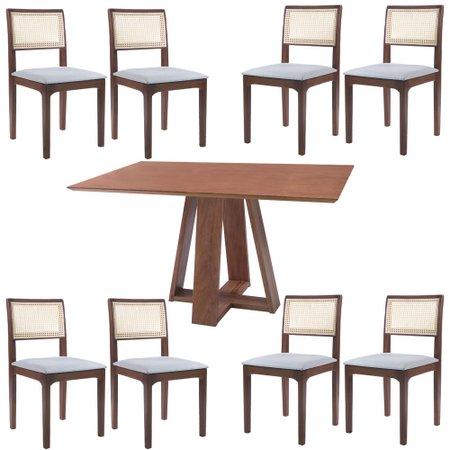 Conjunto Mesa Shell com Tampo Amadeirado 150x150 cm e 8 Cadeiras Nivea Amêndoa - Gran Belo