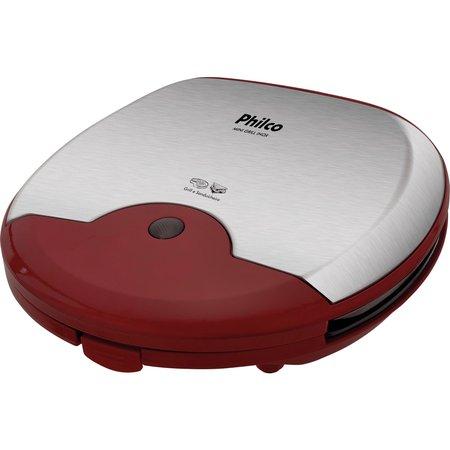 Mini Grill e Sanduicheira Philco Inox Vermelha 750W