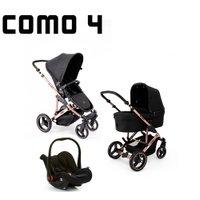 Carrinho de Bebê Como 4 com Bebê Conforto e Moisés Rose Gold ABC Design