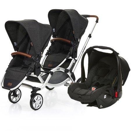 Carrinho de Bebe Para Gêmeos ABC Design Zoom Piano Black Preto com 2 Bebe Conforto Risus e 2 Adaptadores