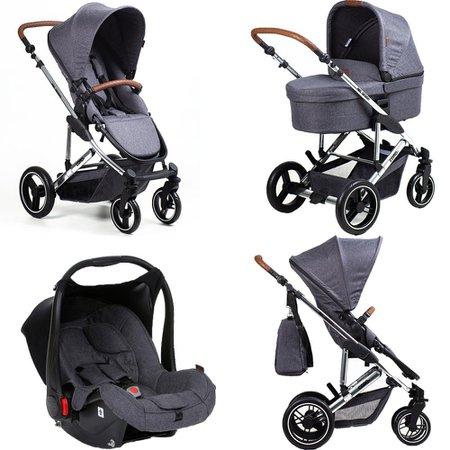 Carrinho de Bebê Como 4 Asphalt com Bebê Conforto, Moisés e Bolsa (Linha Diamond) ABC Design