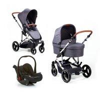 Carrinho de Bebê Como 4 Asphalt c/ Bebê Conforto, Moisés e Bolsa Linha Diamond ABC Design