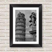 Quadro Decorativo com Moldura em Madeira Maciça e Vidro Torre de Pisa C019