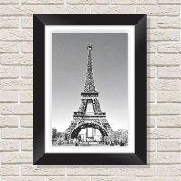 Quadro Decorativo com Moldura em Madeira Maciça e Vidro Torre Eiffel C001