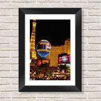 Quadro Decorativo com Moldura em Madeira Maciça e Vidro Las Vegas C036 - 40 cm x 60 cm