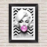 Quadro Decorativo com Moldura em Madeira Maciça e Vidro Geométrico Marilyn Monroe A009 - 40 cm x 60 cm