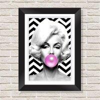 Quadro Decorativo com Moldura em Madeira Maciça e Vidro Geométrico Marilyn Monroe A009 - 30 cm x 40 cm