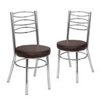 Kit 2 Cadeiras Cromadas CC34 - D415 Debrum Marrom - Tre Paroni