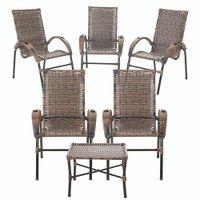 5 Cadeira e 1 Mesa de Centro Cravo Argila