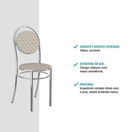 Cadeira Tubo Cromado Tecido Estampado Carraro