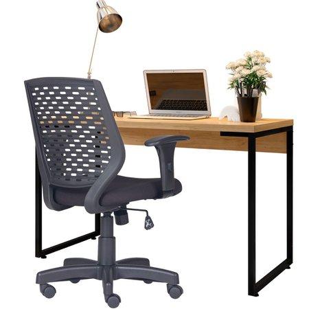 Kit Cadeira Escritório Tech Corino e Mesa Escrivaninha Industrial Soft F01 Fosco - Lyam Decor