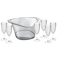 Kit Champanheira Grande Balde De Gelo 8L Conjunto 6 Taças Champagne Plástico