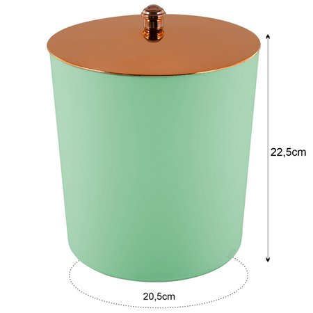 Lixeira Multiuso 5 Litros com Tampa Pegador Rosé Gold Verde