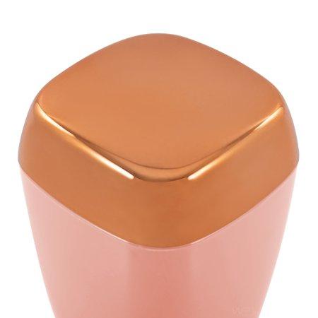 Porta Algodão Cotonete de Bancada Rosé Gold Rosa